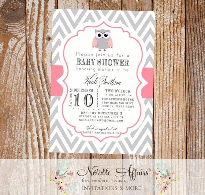 Gray Chevron And Pink Baby Owl Invitation