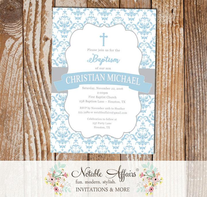 light blue and gray damask christening invitation cross baptism