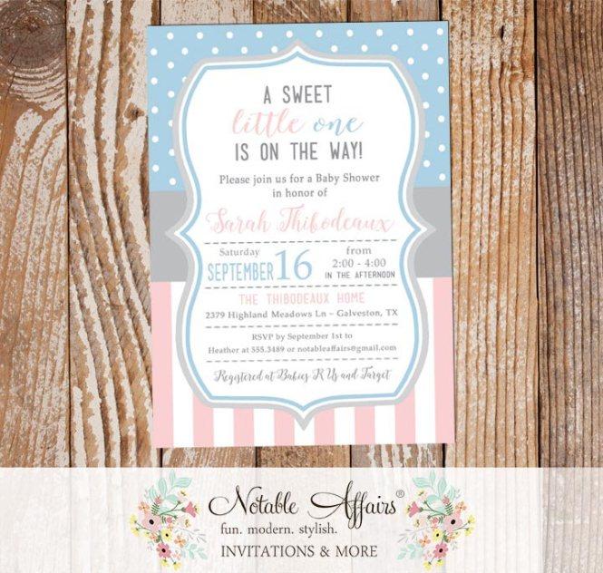Light Pink Baby Blue Vertical Stripes Polka Dots Gender Neutral Shower Invitation