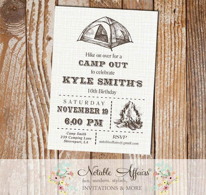 rustic hiking camping birthday invitation