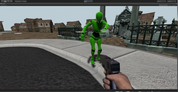 AI controlled zombie attacking player.