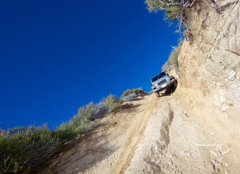 Jeep Wrangler on a off-camber section at Cleghorn trail