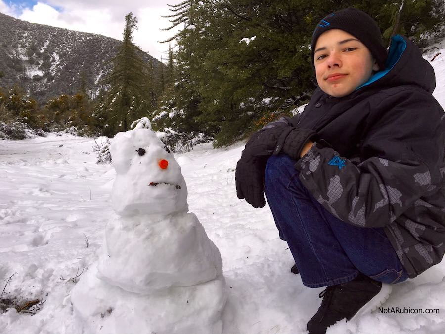The snow-midget we built in the snow at Lytle Creek