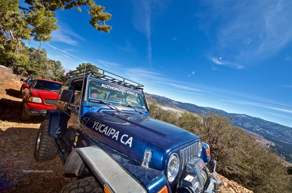 The blue Yucaipa Jeep on Gold Mountain
