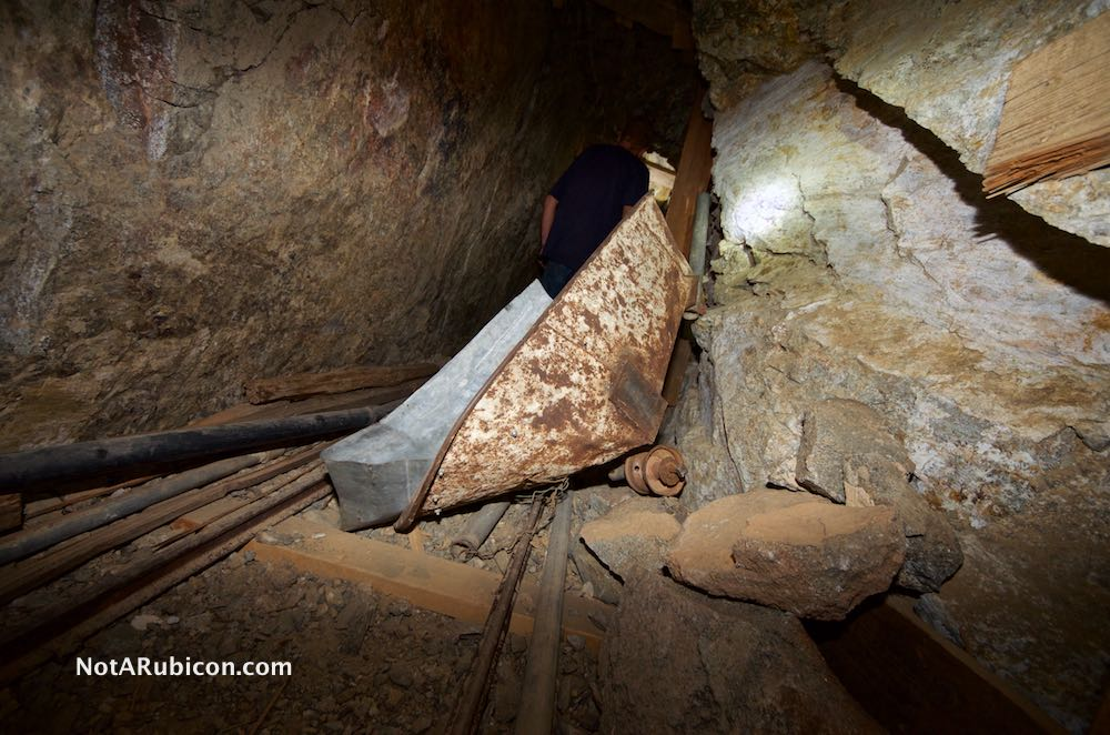 Ore cart abandoned in the Golden Egg Mine