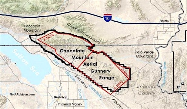 Map of the Chocolate Mountain Bombing Range
