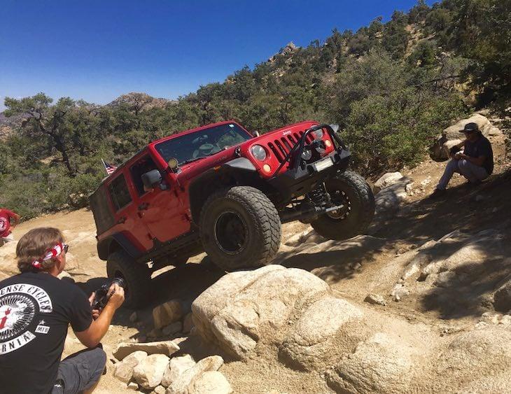 Jumpin Jill Hays in her Jeep near Heartbreak Ridge