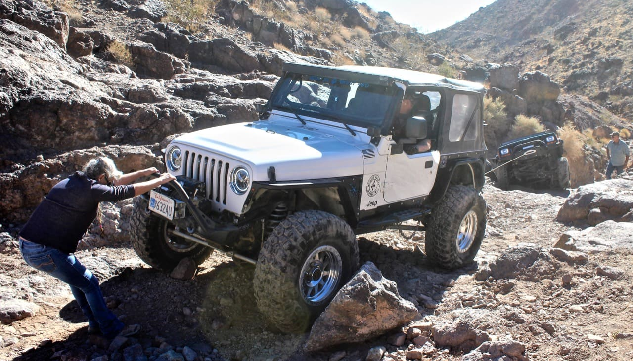 Jeep being winched off the rocks on the Doran 4x4 trail