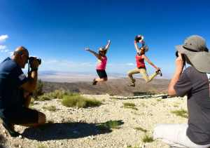 People jumping on Tip Top Mountain in Big Bear california