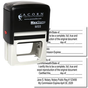 Self Inking Notary Certified Copy stamp
