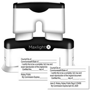 MaxLight X Notary Certified Copy Stamp