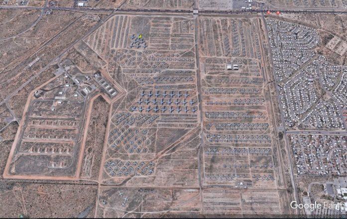Cementerio de aviones en Arizona visto con Google Earth