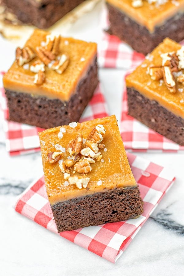 Salted Caramel Brownies with Maple Pecans