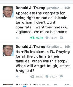 Trump tweets following orlando shooting
