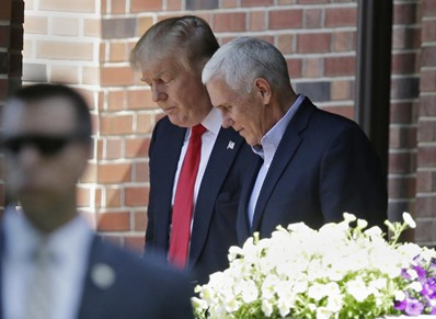 Donald Trump and Mike Pence in Indiana July 2016