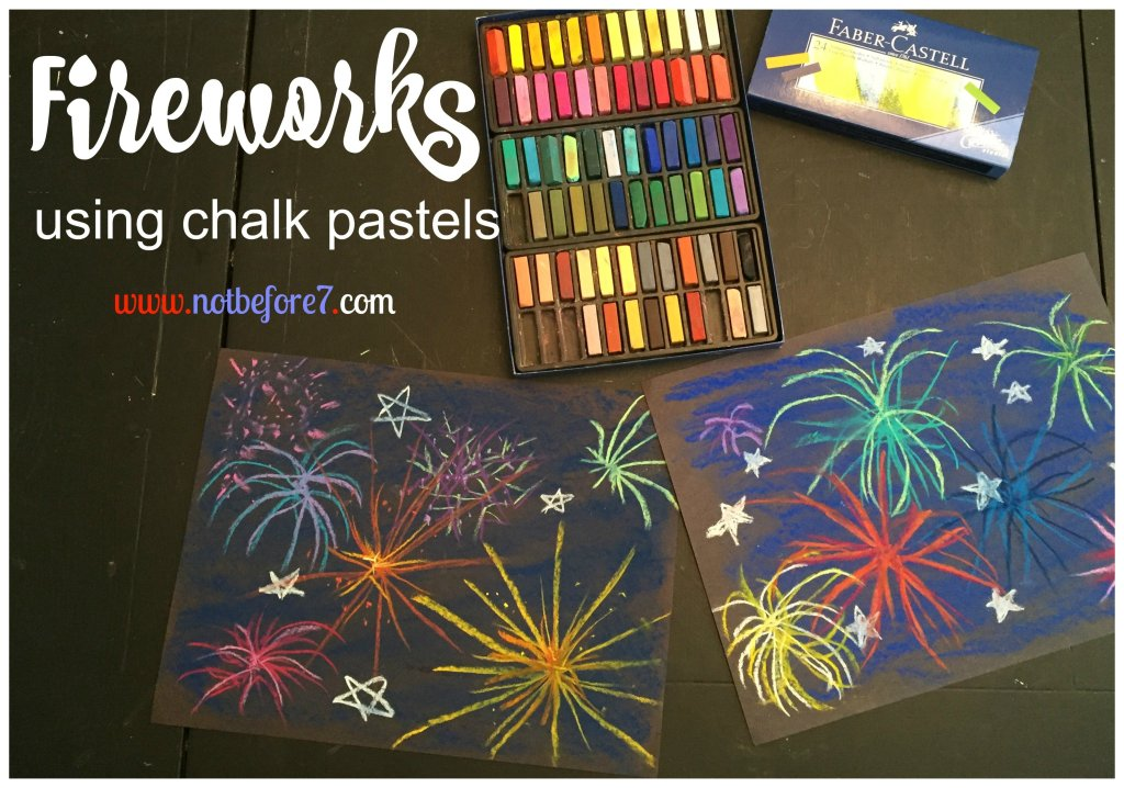 Our family had a great time with this July 4th chalk pastel firework art.