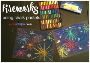 Create firework art using chalk pastels.