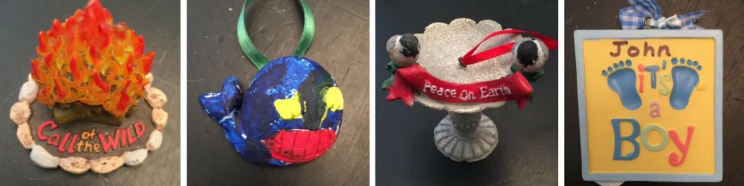 Examples of our Jesse Tree ornaments.