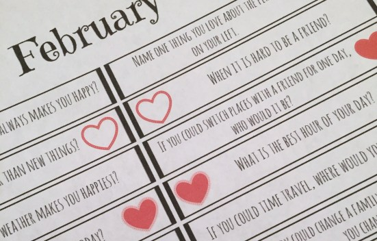 Free printable conversations starters to use to connect with your kids this February.