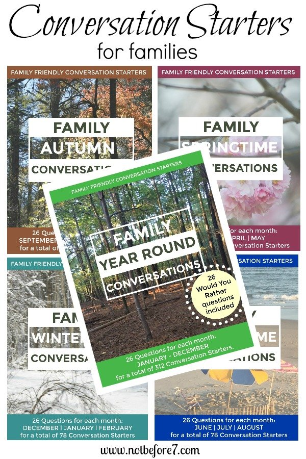 Conversation Starters for you to enjoy with your family. 23 questions for each month are included.