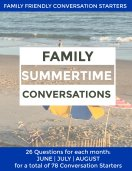 Conversation Starters for Families. Three months of conversations starter for kids and parents with questions to carry you through Summer.