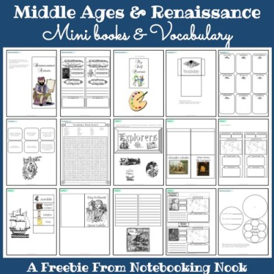 Freebie: Middle Ages and Renaissance Mini Books and Vocabulary