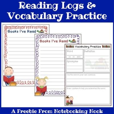 Freebie: Reading Logs & Vocabulary Practice