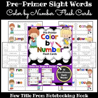 New Title: Pre-Primer Color By Number Sight Word Flash Cards