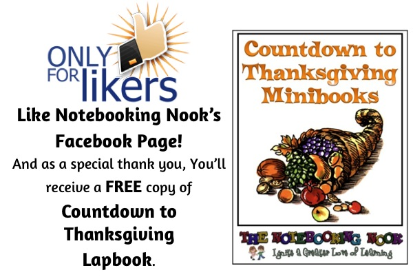 "October 2013 Facebook ""Only for LIkers"" Freebie - Countdown to Thanksgiving Lapbook"