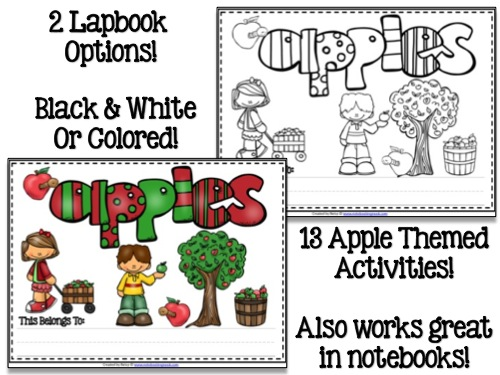 Apple Themed Lapbook - 2 Color Options