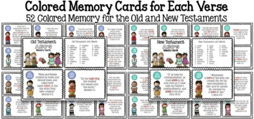 Bible ABC's Colored Memory Cards Samples