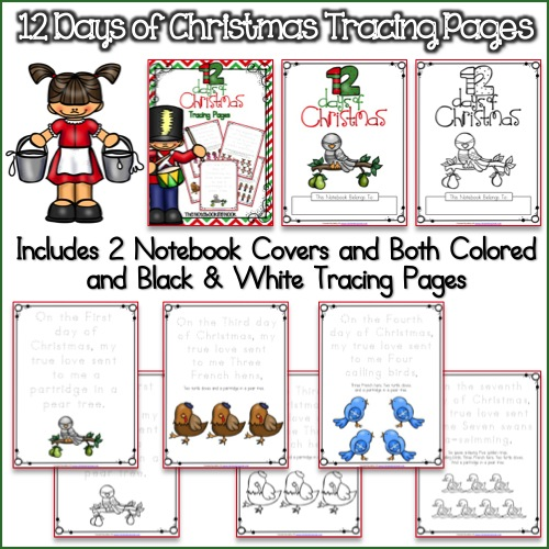 12 Days of Christmas Tracing Pages