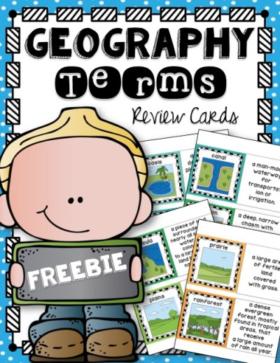 Free Geography Terms Review Cards from The Notebooking Nook