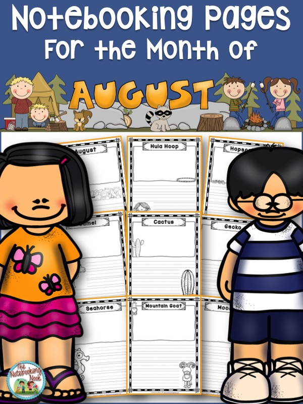 Themed Notebooking Pages for the Month of August from The Notebooking Nook