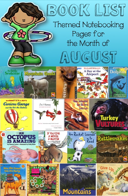 Book List for Themed Notebooking Pages for the Month of August