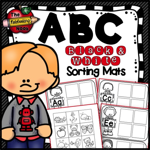 ABC Sorting Mats (B&W)