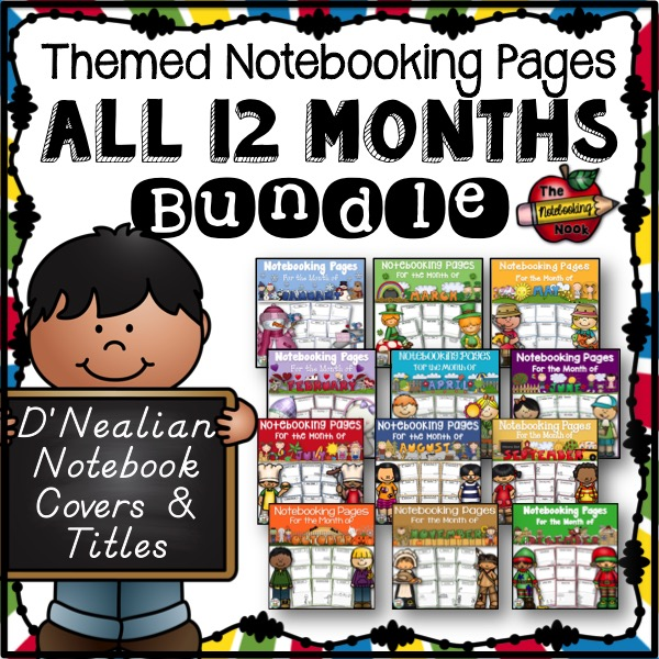 All 12 Months Notebooking Pages - D'Nealian Manuscript