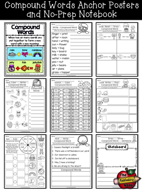Compound Words Anchor Posters and No-Prep Notebook Samples