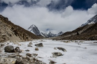 Pumori (7.161m) und Lingtren (6.714m)