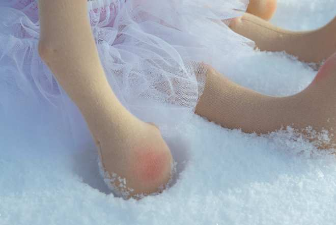 Doll tutu detail in the snow