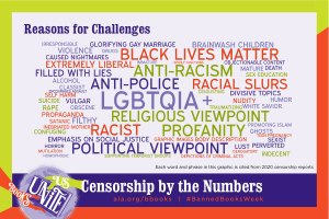 tag cloud of reasons for challenging of books, including anti-racism, anti-police, LGBTQIA+, religious viewpoint, emphasis on social justice, profanity, promoting Islam