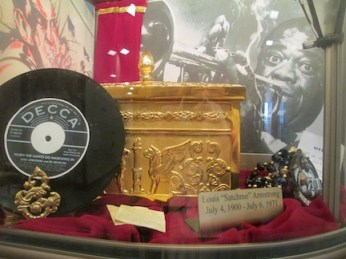 "Louis ""Satchmo"" Armstrong's ashes at Lake Lawn Cemetery New Orleans."
