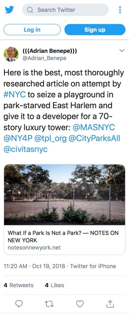 --Adrian Benepe, former Commissioner of the New York City Department of Parks and Recreation (2002-2012).