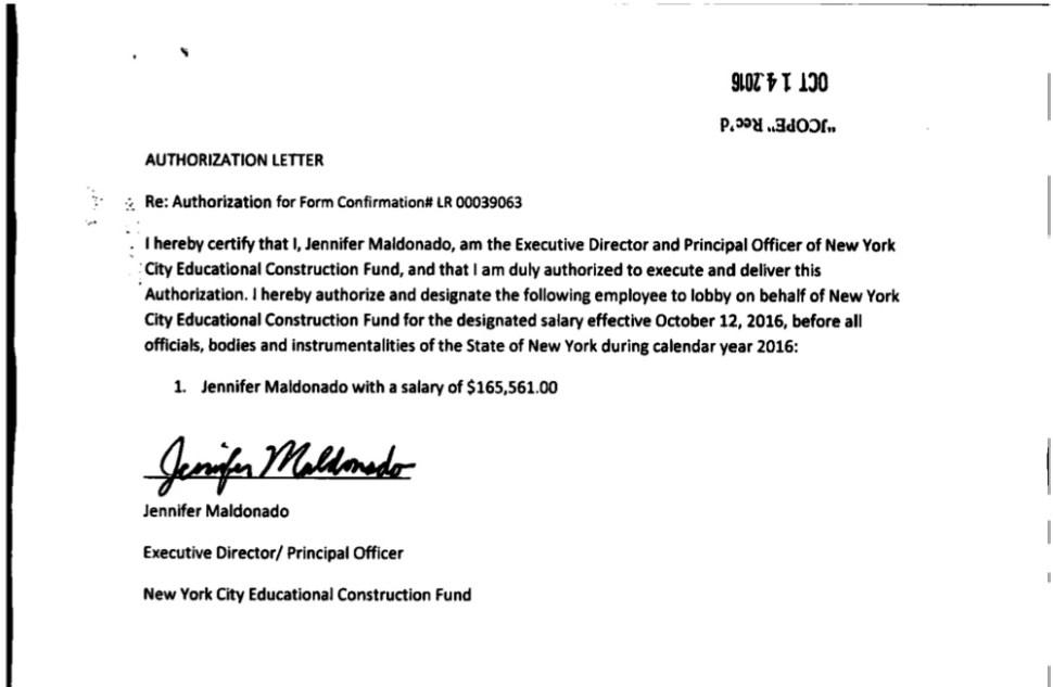 Jennifer Maldonado designates herself a lobbyist. Document courtesy of jcope.ny.gov. October 2016.