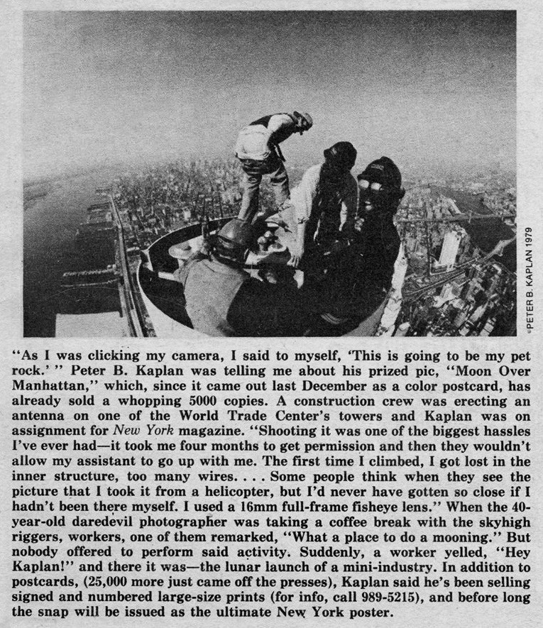 """Undated blurb about Mr. Kaplan's photo """"Moon Over Manhattan"""" in the Village Voice. Courtesy of the Facebook account Peter B. Kaplan Images, Inc.)"""
