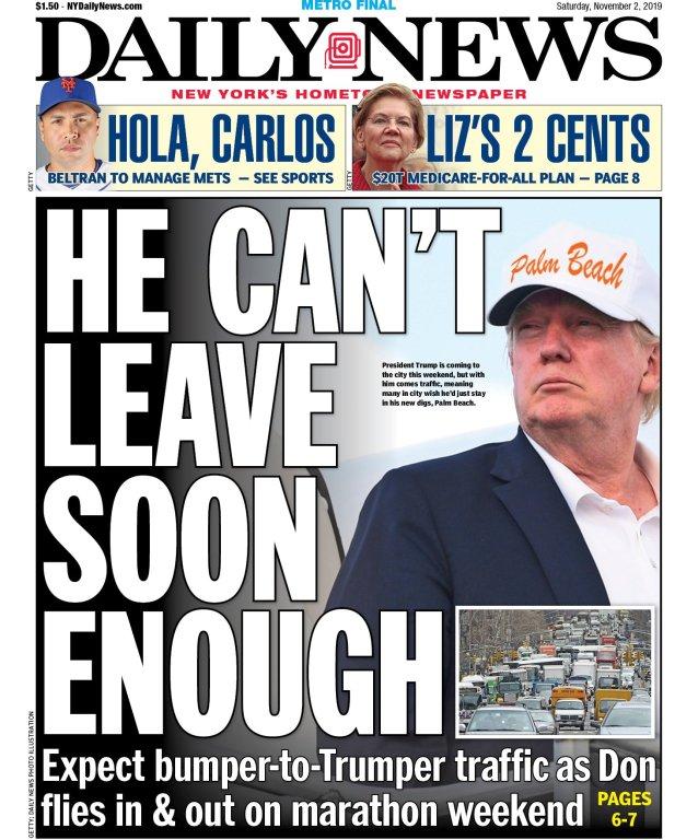NY Daily News Cover. Screenshot by Rick Stachura. November 2, 2019.