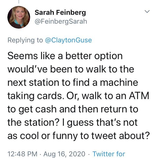 Screenshot courtesy of Sarah Feinberg's Twitter account. August 16, 2020.