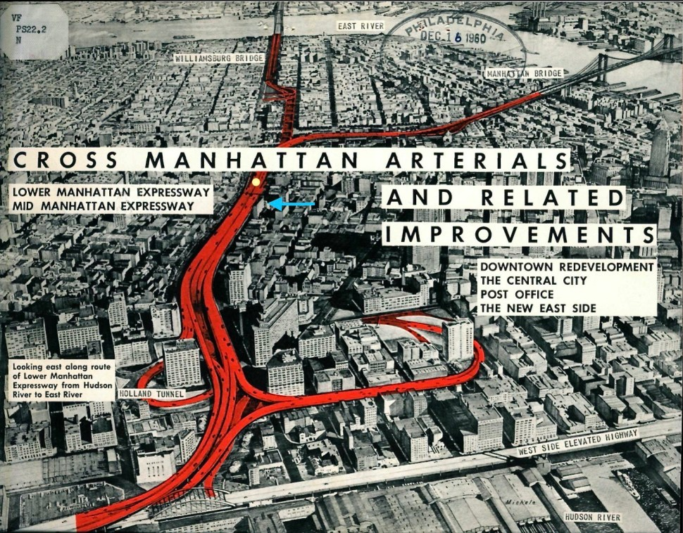 """""""Berenice on Broome."""" Illustration by Unknown. """"Cross Manhattan Arterials and Related Improvements."""" November 12, 1959."""