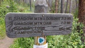 The sign at the junction of the North Shore Trail and the Shadow Mountain Trail.