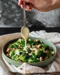 Barley Broccoli Salad with tahini dressing